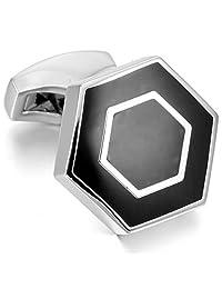 INBLUE Men's Rhodium Plated Enamel Cufflinks Hexagonal Shirt Wedding Business 1 Pair Set