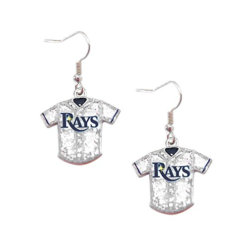 (MLB Tampa Bay Rays Team Logo Glitter Jersey Earring Sports Fan Gift)