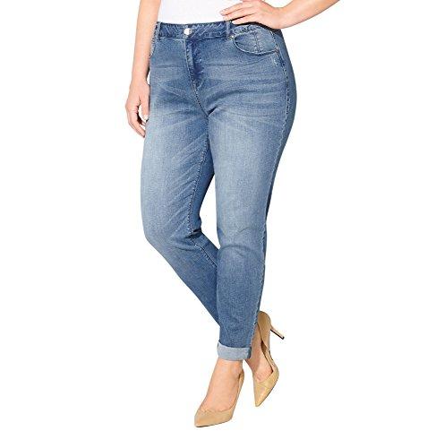 AVENUE Women's Virtual Stretch Cuffed Ankle Jean (Med Wash), 16 Medium Wash