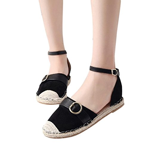 vermers Hot Sale Womens Strap Buckle Sandals - Casual Espadrilles Fashion Summer Holiday Shoes(US:6, Black) by vermers