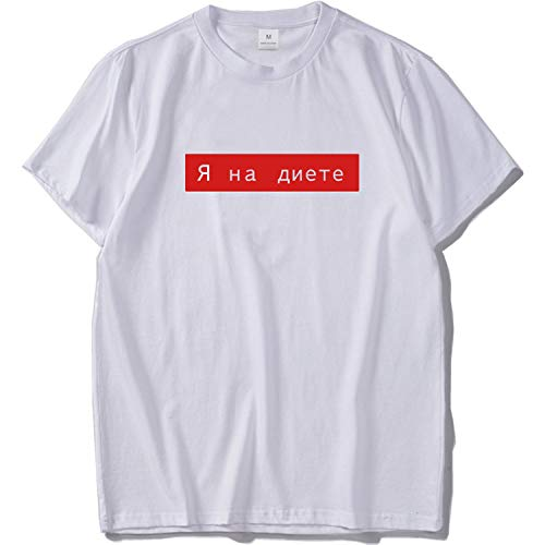 Letter Print T Shirt for Men White Black O-Neck Tees Casual Top Loose Leisure T-Shirt Cotton,White,US Size L ()