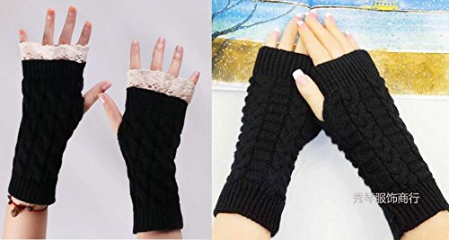Chalier 2 Pairs Womens Winter Knit Fingerless Gloves Thumbhole Short Arm Warmer