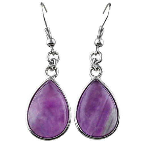 SUNYIK Purple Amethyst Teardrop Dangle Earrings with (Amethyst Teardrop Dangle Earrings)