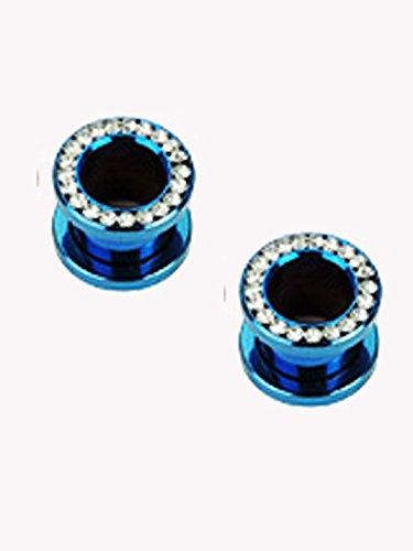 ((4 Gauge) Blue Titanium IP Ear Plug - Rhinestone Screw On Flared Tunnel Plug)