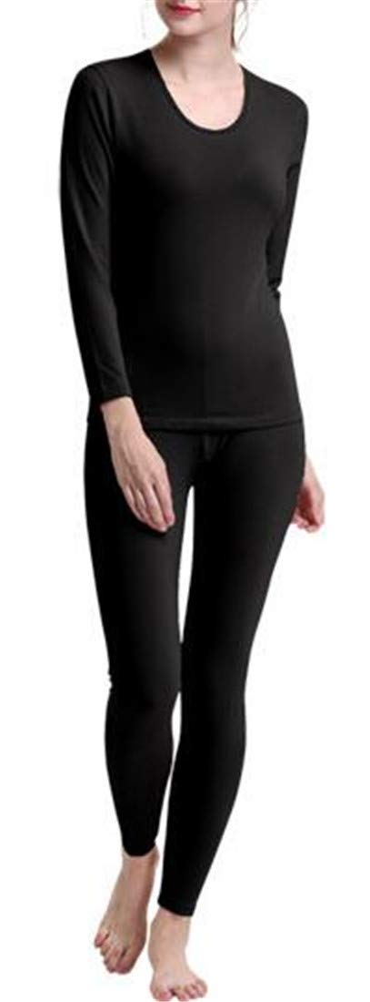 X-Future Womens Crew Thermal Underwear Underwear 2-Piece Baselayer Top and Bottom Black OS by X-Future
