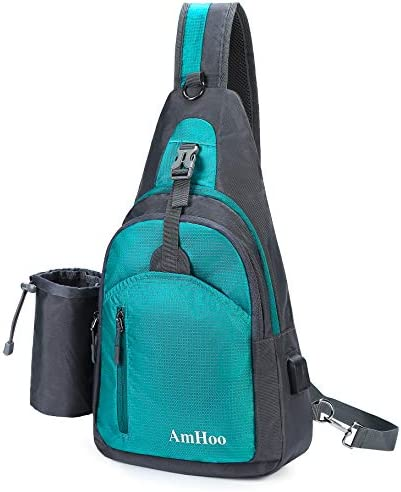 AmHoo Sling Backpack Chest Shoudler Crossbody Bag Waterproof Hiking Daypack Large Turquoise
