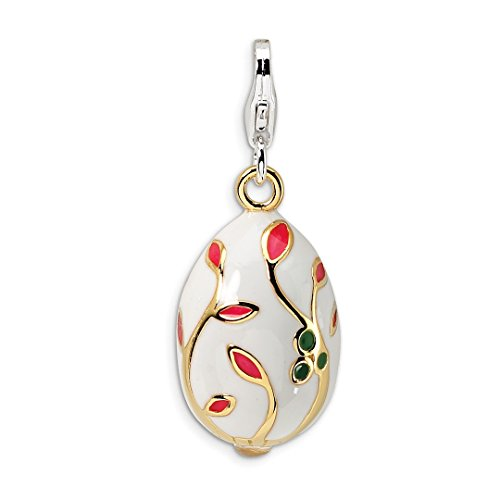 925 Sterling Silver 3 D Enameled Gold Plated White Egg Lobster Clasp Pendant Charm Necklace Holiday Easter Fine Jewelry For Women Gift Set ()