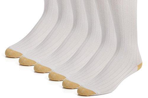 Cotton Dress Socks – Men's Crew Socks - 98% Cotton - 3 pk and 6 pk - by Topfit (11-13 White 6 Pk) by topfit (Image #1)