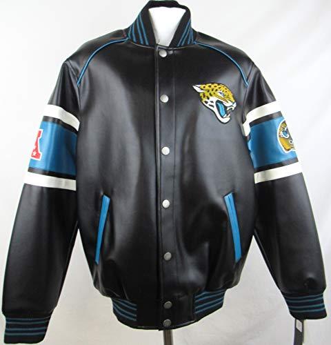 Mens NFL Jacksonville Jaguars Faux Leather Embroidered Snap Up Jacket, Medium A1 1378