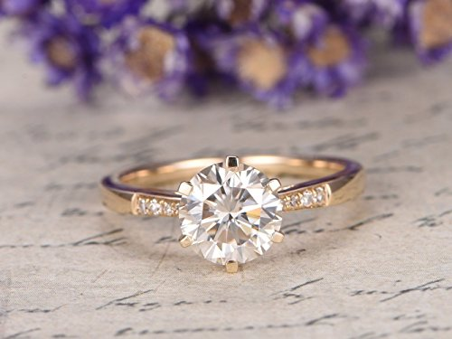 5mm Round Charles & Colvard Moissanite Engagement Ring 14k Yellow Gold SI I-J Diamond Wedding Band Bridal Promise Ring Round Cut