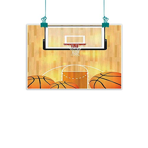 funkky Sports Decor Collection Art Oil Paintings Basketball Court Ball and Hoop Madness Rim Court Parquet Hardwood Picture Print Canvas Prints for Home Decorations 24