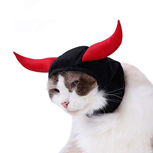 Devil Costume for Cats, Horn Headdress Wig Pet Dress Up Party -