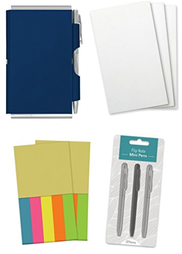 Wellspring Flip Note+ Double Sided Notepad and Sticky Note Set: Blue Flip Note+, 2 Sticky Note Refills, 3 Flip Note Refill Pads and a 3 Mini Pen Refill (Mini Sticky Notepad)