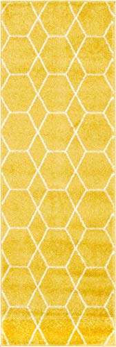 Unique Loom Trellis Frieze Collection Lattice Moroccan Geometric Modern Yellow Runner Rug (2' x 6')]()