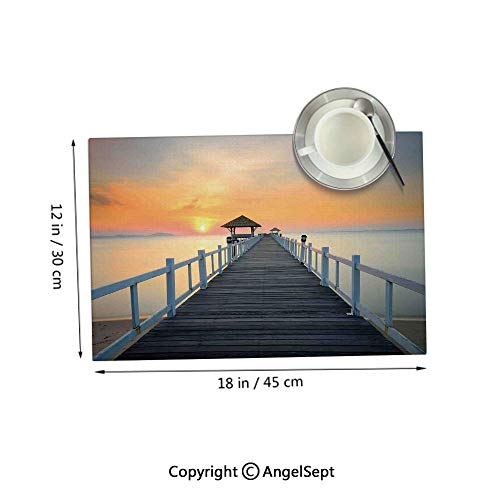 Placemats for Dining Table Kitchen,Long Exposure Deck Path by Sea Shore with Horizon Sunset LandscapeSoft Blue Orange 12x18inches,Outdoor Placemats Set of 4