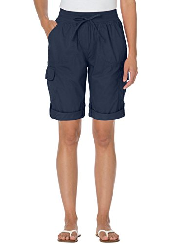Women's Plus Size Shorts With Convertible Tabs Navy,32 W