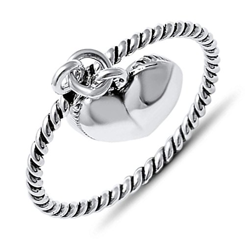 Dangle Heart Charm Ring .925 Sterling Silver Womens Twist Rope Band Size 5