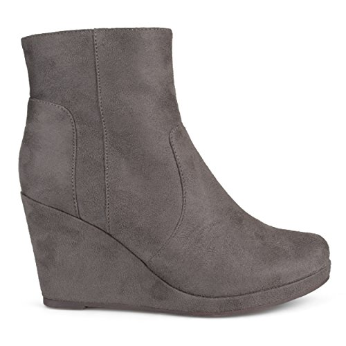 Brinley Co Women's Bear Ankle Boot, Grey, 8.5 Regular US