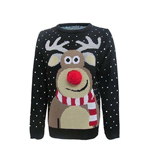 Fashion Essentials-womens Unisex Rudolph Print 3d Nose Pom Pom Christmas Jumper (L, BLACK) (Jumpers Christmas Ugliest)