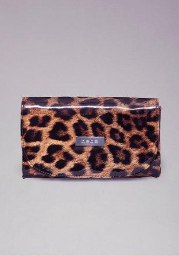 Bebe Leopard Print Makeup Brush Clutch Set ()
