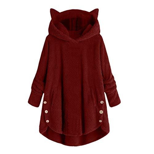 [해외]FACAIAFALO 여성용 코트 사이드 버튼 솜털 꼬리 탑 후드 루즈 따뜻한 풀오버 스웨터 / FACAIAFALO 여성용 코트 사이드 버튼 솜털 꼬리 탑 후드 루즈 따뜻한 풀오버 스웨터