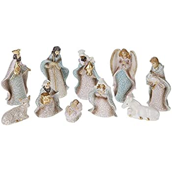 Figurines Set of 6 Pieces Creative Co-op Resin Nativity with Wood Finish Cream