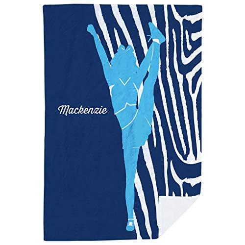 (ChalkTalkSPORTS Personalized Cheerleading Premium Blanket | Girl with Zebra Stripes |)
