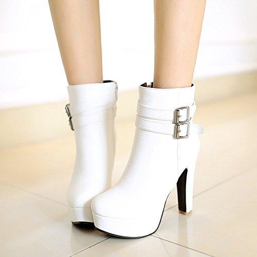 YCMDM alti - stivali con tacco donne con la piattaforma impermeabile Cavaliere stivali nudi temperamento moda primavera autunno inverno albicocca bianco nero Taglia 31 32 33 34 35 36 37 38 3940 41 42