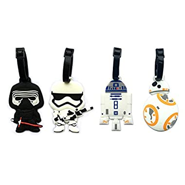 5  Star Wars Inspired 4pcs Luggage Tags Charms kylo ren BB8 Stormtrooper R2D2