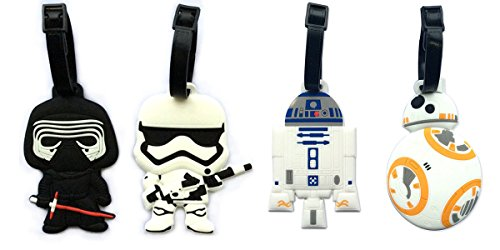 "5"" Inspired 4pcs Luggage Tags Charms kylo ren BB8 Stormtrooper R2D2"