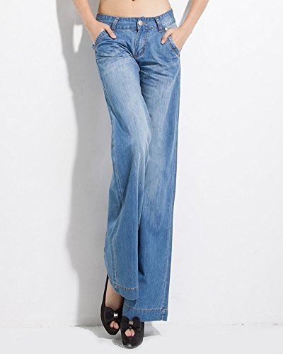 Long Grandes Jeans Bootcut Haute Clair Femme Tailles Pantalon Flare Taille ZhuiKunA Bleu AqIFwfW