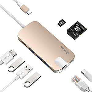 QacQoc GN30H Aluminum Multi-Port USB C HUB Adapter with 4K HDMI (30Hz),Type-C Pass Through Charging on PD,Ethernet,SD/Micro Card Reader,and 3 USB 3.0 Ports (Gold)
