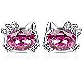 Twenty Plus Mini Cat Stud Earrings Kitty Crystals Fashion Jewelry Gifts for Women Girls Christmas Holiday Birthday