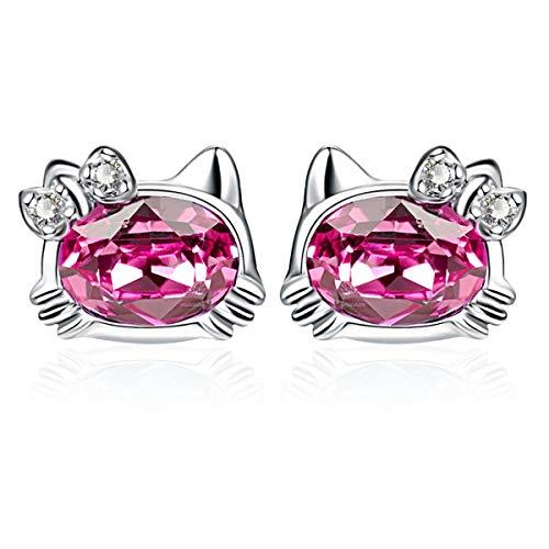 Twenty Plus Mini Cat Stud Earrings Kitty Crystals