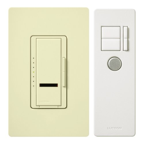 - Lutron Maestro IR Dimmer Switch for Incandescent and Halogen Bulbs, Single-Pole or 3-Way, with IR Remote Control and Wallplate, MIR-603THW-AL, Almond