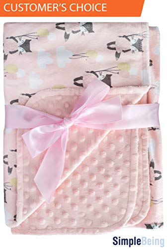 Simple Being Soft Minky Baby Blanket, Textured Dot and Printed Mat, Double Sided Girls Blanket (CAT), Shower Gift Registry