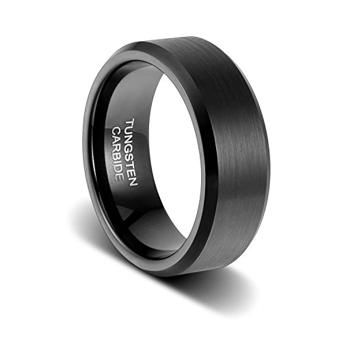 TUSEN JEWELRY Classic Wedding Band Black Tungsten Ring 8mm Matte Finish Beveled Polished Edge Comfort Fit Size:6