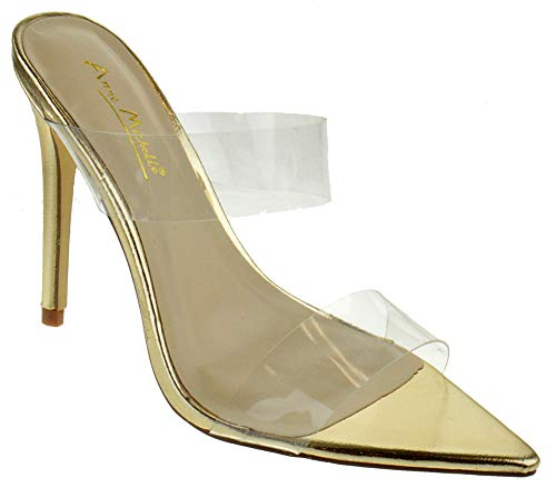 Anne Michelle Exception 24 Womens Classic Single Band Stiletto Mule Heel Pointed Toe Pumps Gold 10 (4 Inch Heel Mule)