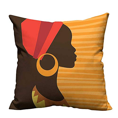 YouXianHome Decorative Couch Pillow Cases Girl Profile Silhouette with Earrings Grace and Elegance Icon Image Dark Brown Merigold Easy to Wash(Double-Sided Printing) 26x26 inch