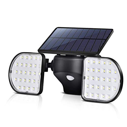 OUSFOT Solar Lights Outdoor Motion Sensor, 56 LED Solar Security Lights Dual Head Spotlights Waterproof 360-Degree Adjustable Solar Wall Lights