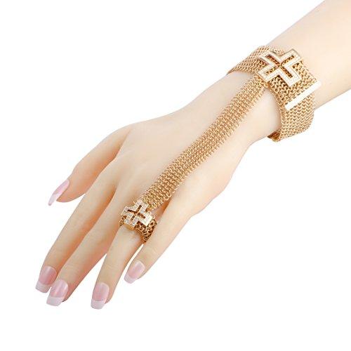 Roger Dubuis 18K Rose Gold Diamond Cross Mesh Bracelet and Ring