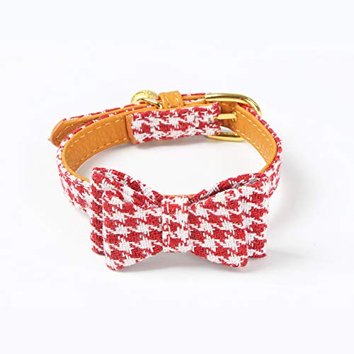 PetFavorites Small Dog Costume Collar - Houndstooth Bowtie Kitten Bandana Collar for Halloween - Teacup Yorkie Chihuahua Clothes Outfits Accessories (Red Houndstooth Bow Tie, 8.7 to 11-Inch) -