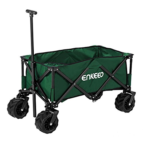 Adjustable Cart Compact Utility (ENKEEO Foldable Utility Wagon Collapsible Sports Outdoor Cart with Large Capacity and Tilting Handle for Camping Beach Sporting Events Concerts, Green)