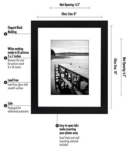 Americanflat 4 Piece Black Picture Frame Set | Displays 8x10 inch Photos. Shatter-Resistant Glass. Hanging Hardware Included! - Design: Black 8x10 inch picture frames; comes with a white beveled mats and hanging hardware for hassle-free display in both horizontal and vertical formats to hang flat against the wall; includes easel stands for tabletop or desktop display Material: Wood frames with polished shatterproof glass fronts that give clear views of your photos Quality: Durable, gallery-style frames; the frame fronts have clear shatterproof glass and sturdy backboards to keep the photos in place - picture-frames, bedroom-decor, bedroom - 41Pe36SnhAL -