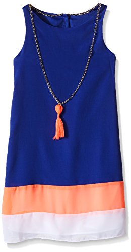 Tween Diva Big Girls' Colorblock Dress with Necklace, Blue/Pink/White, 14