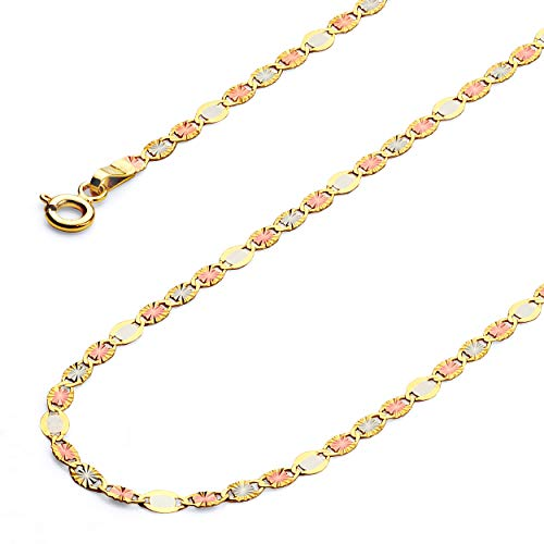 Wellingsale 14k Tri 3 Color Gold SOLID 3mm Polished Flat Valentino Star Diamond Cut Chain Necklace - 18