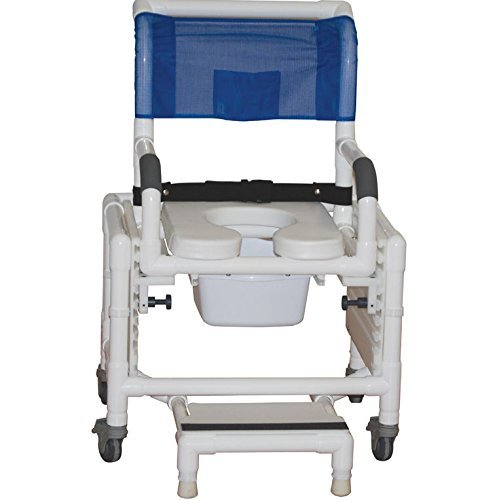 MJM International 118-5TL-SFS-SSDE-SQ-PAIL Standard Shower Chair with Slide Out Footrest, Front Supports, Soft Seat, Commode Pail and 5'' Casters Total Lock Casters, 300 oz Capacity, 40.5'' Height x 22'' Width x 25.25'' Depth, Royal Blue/Forest Green/Mauve