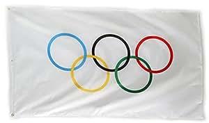 Más * Atención Olympic bandera 5x 3m poliéster con ojales Banner Sign anillos verano (más * Atención banderas son sólo auténtico si comprar de más * Atención)