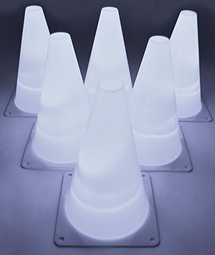 GlowCity Light-Up Soccer Training Cones - 6 x 7-inch Super-Bright LED Agility Drill Cones - for Basketball, Athletics and Glow-in-The-Dark Practice - Batteries Included (6 Pack) (White)