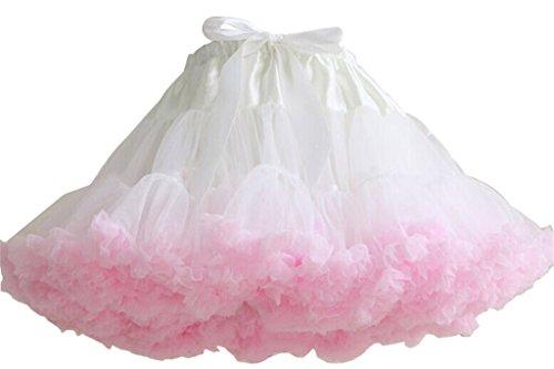 Nuotuo Womens Lolita Grenadine Tutu Pettiskirt White&pink CC332A-1 (Ruffled White Pettiskirt)